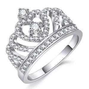 IPARAM Fashion Luxury Silver Zirconia Crown Ring W